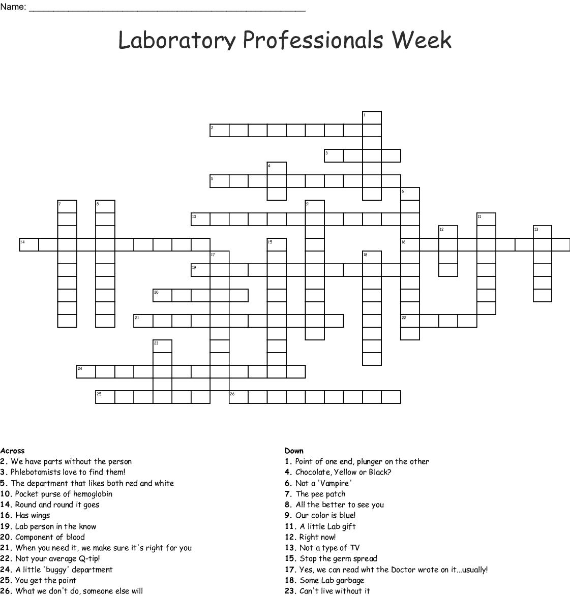 Laboratory Professionals Week Crossword