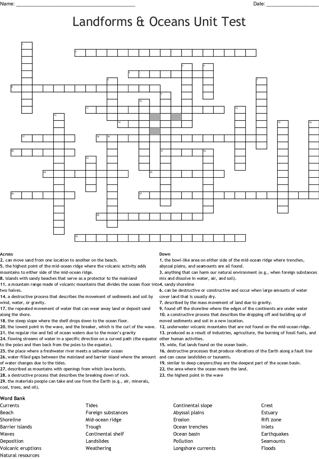 Landforms Amp Oceans Unit Test Crossword