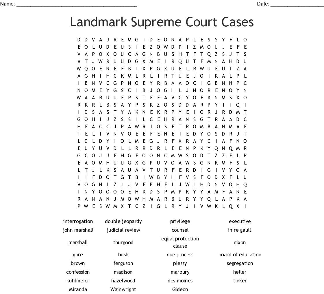 Landmark Supreme Court Cases Worksheet Answers