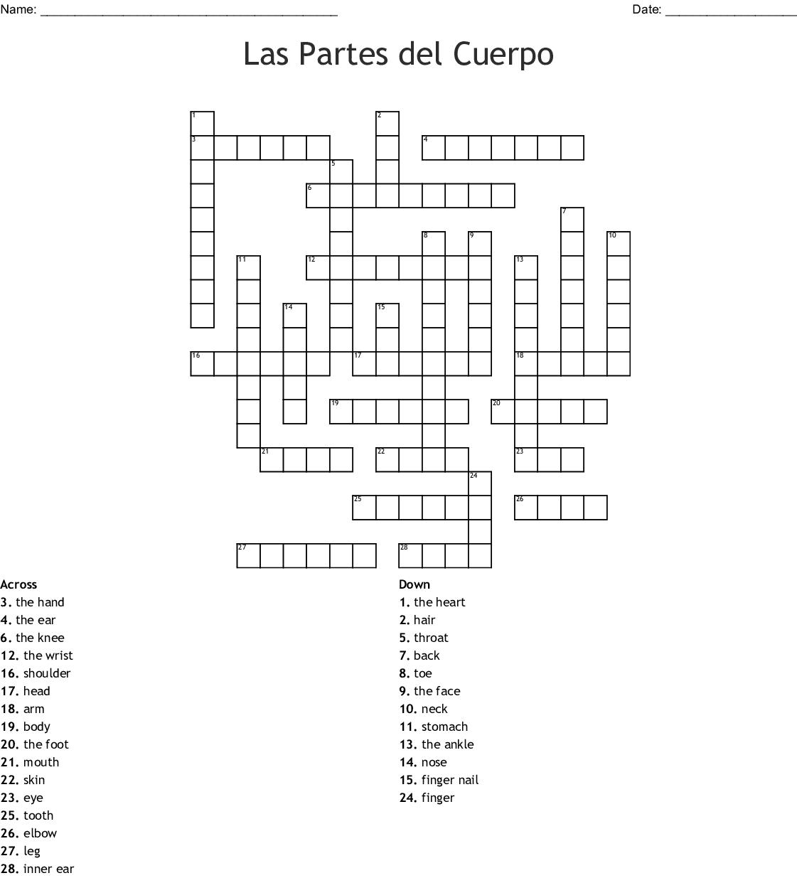 Body Parts In Spanish Crossword
