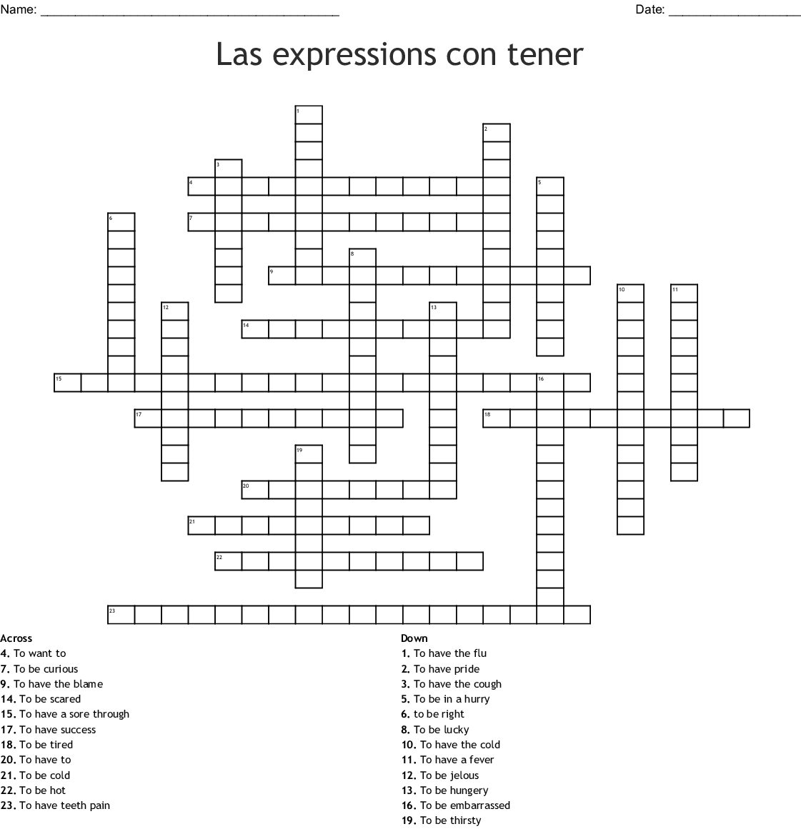 Spanish Gusta Word Search