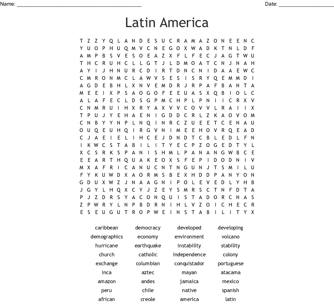 Latin America Word Search