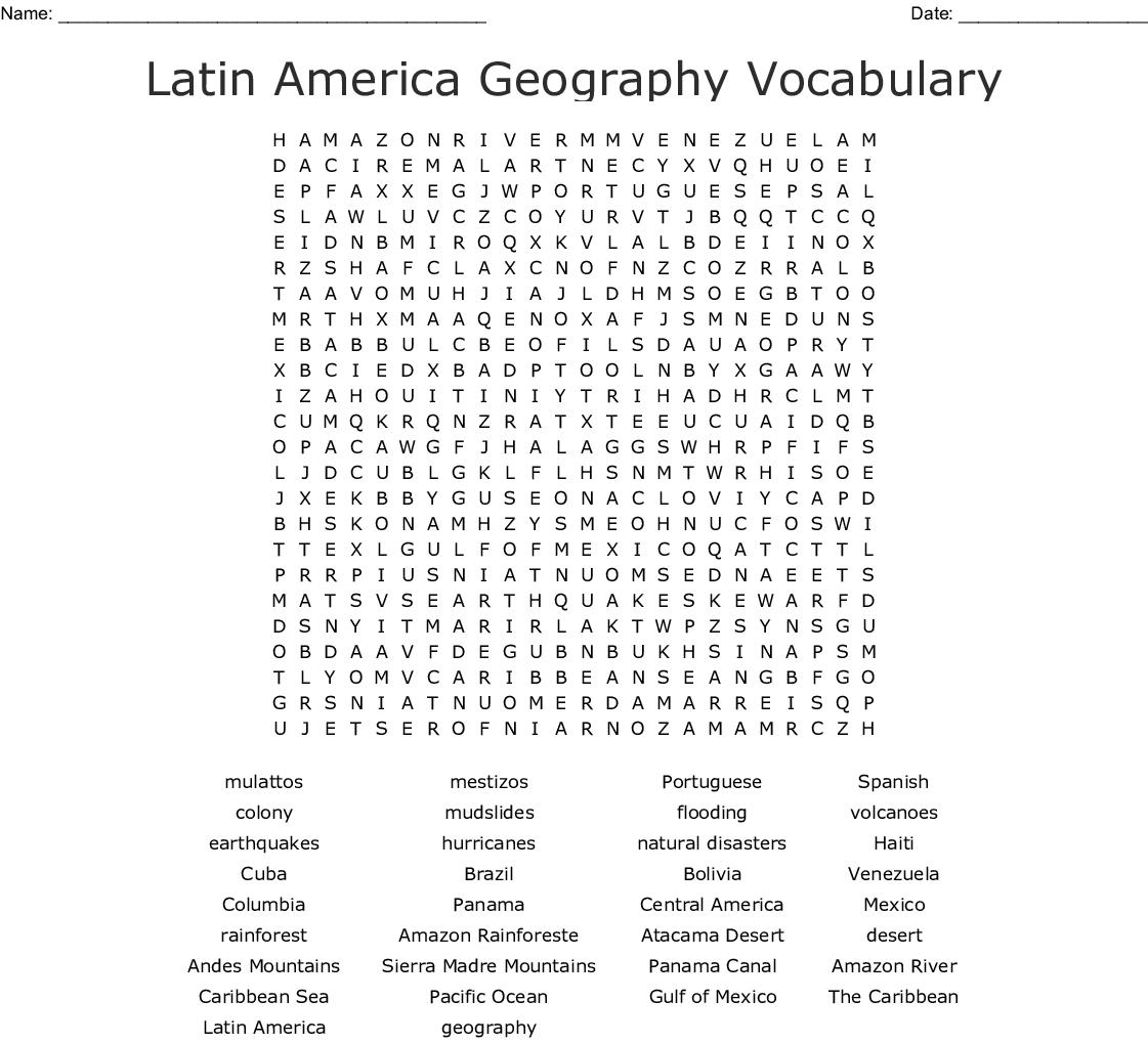 Latin America Geography Vocabulary Word Search