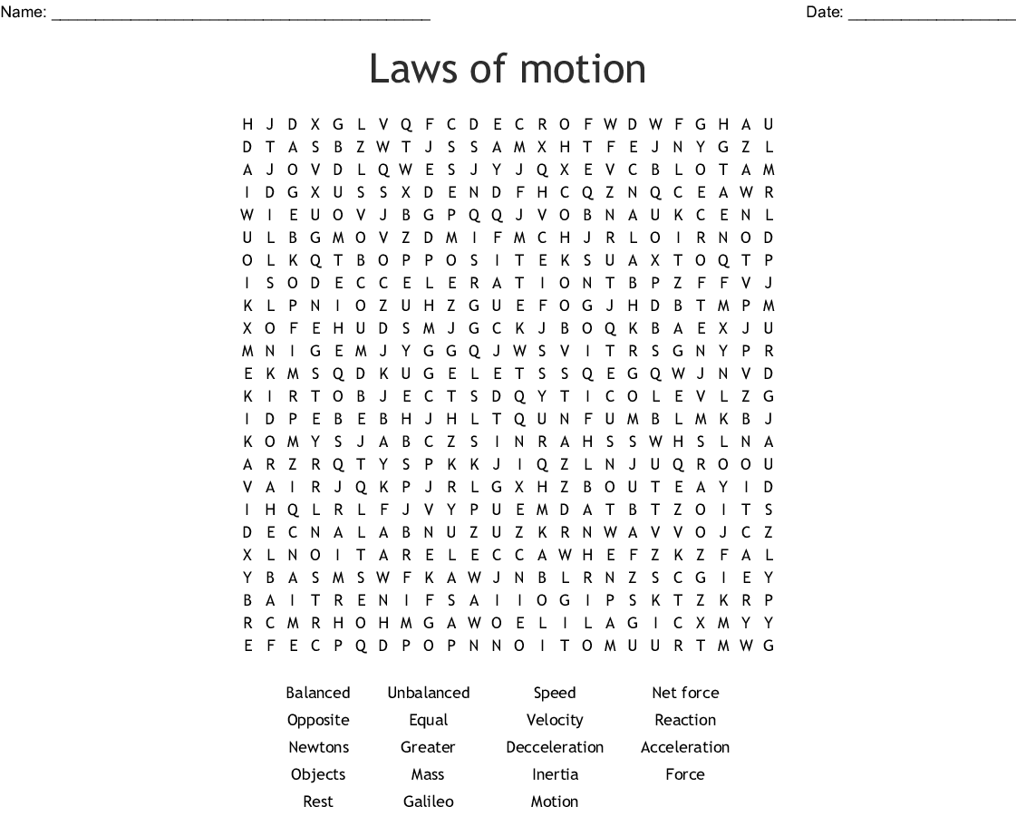 Laws Of Motion Word Search