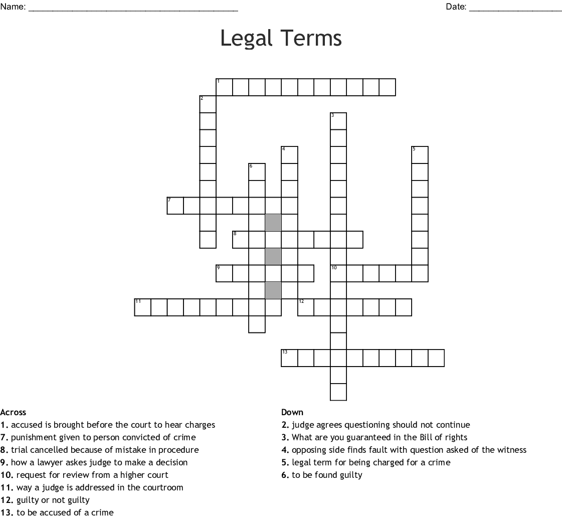 Courthouse Vocab Words Crossword