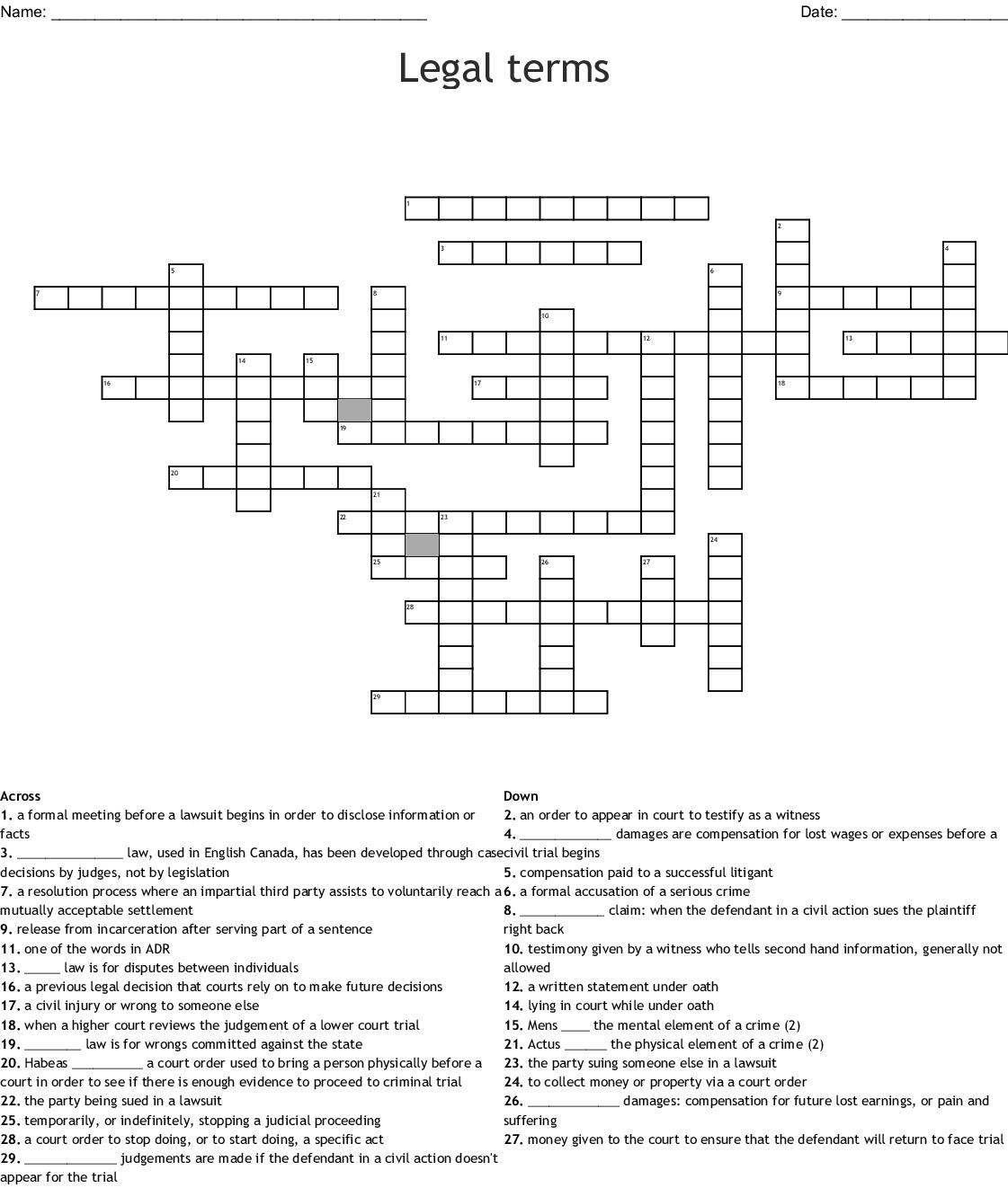 Criminal Law Crossword