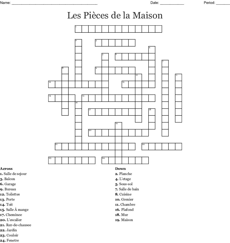Les Pieces De La Maison Crossword