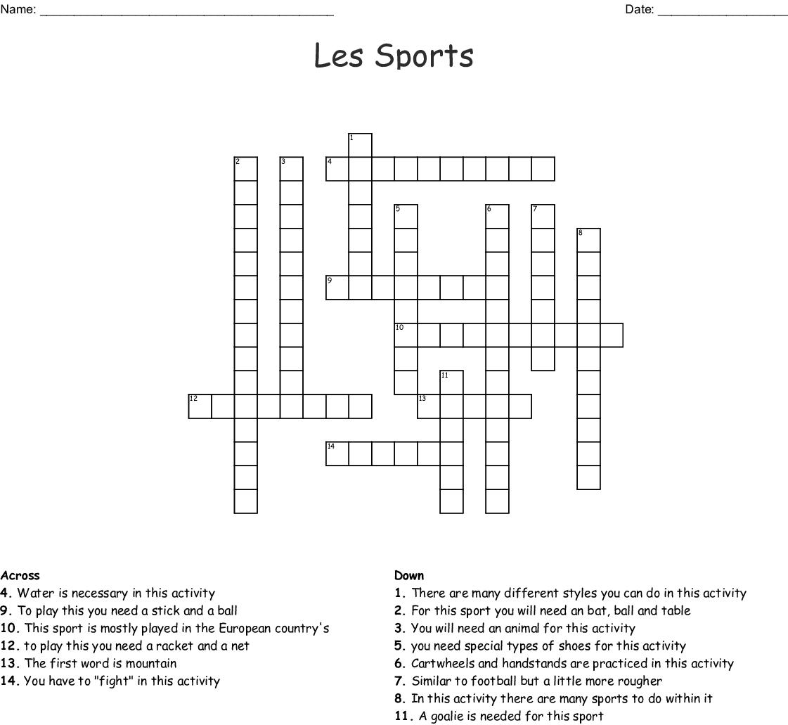 Sports Crosswords Word Searches Bingo Cards
