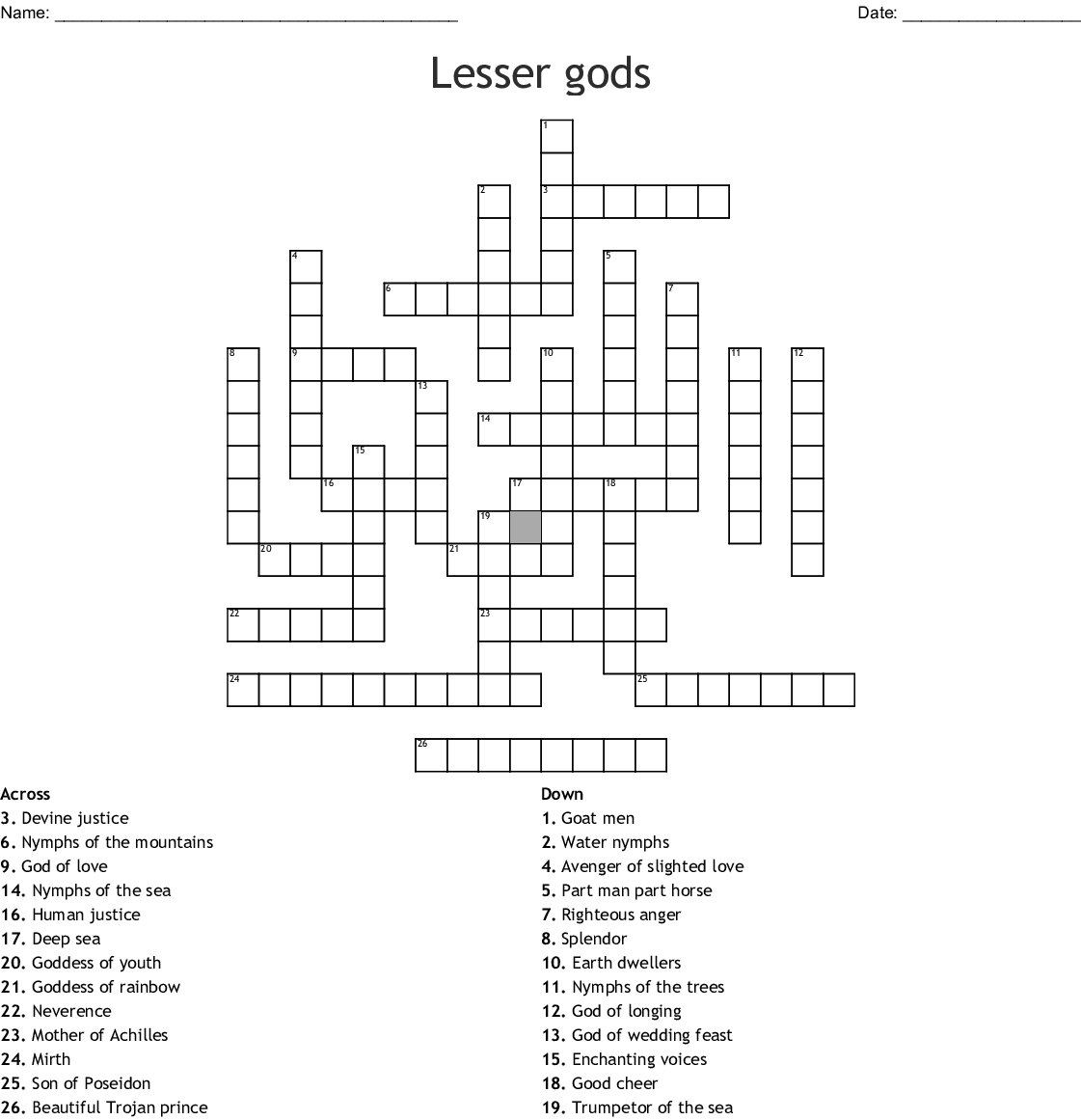 Mother Earth In Greek Mythology Crossword