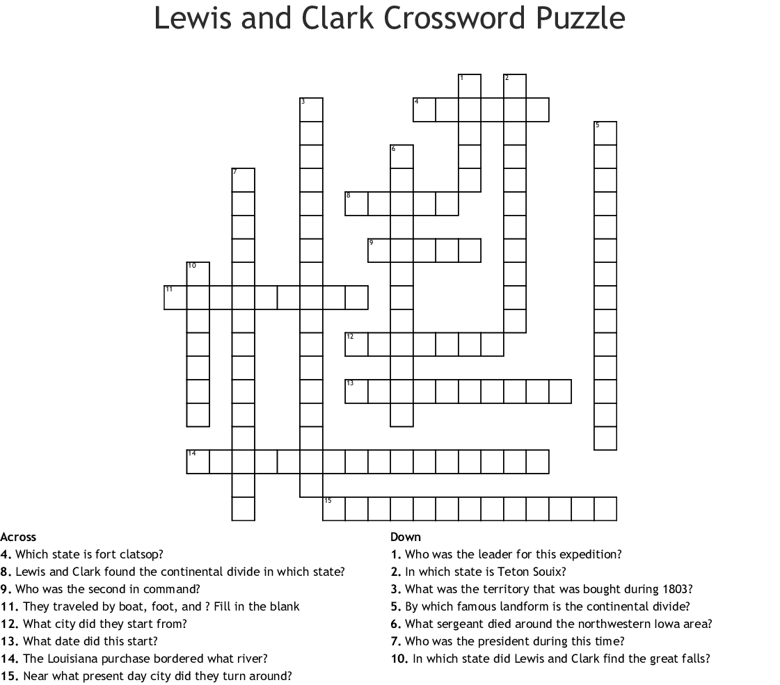 Lewis And Clark Word Search