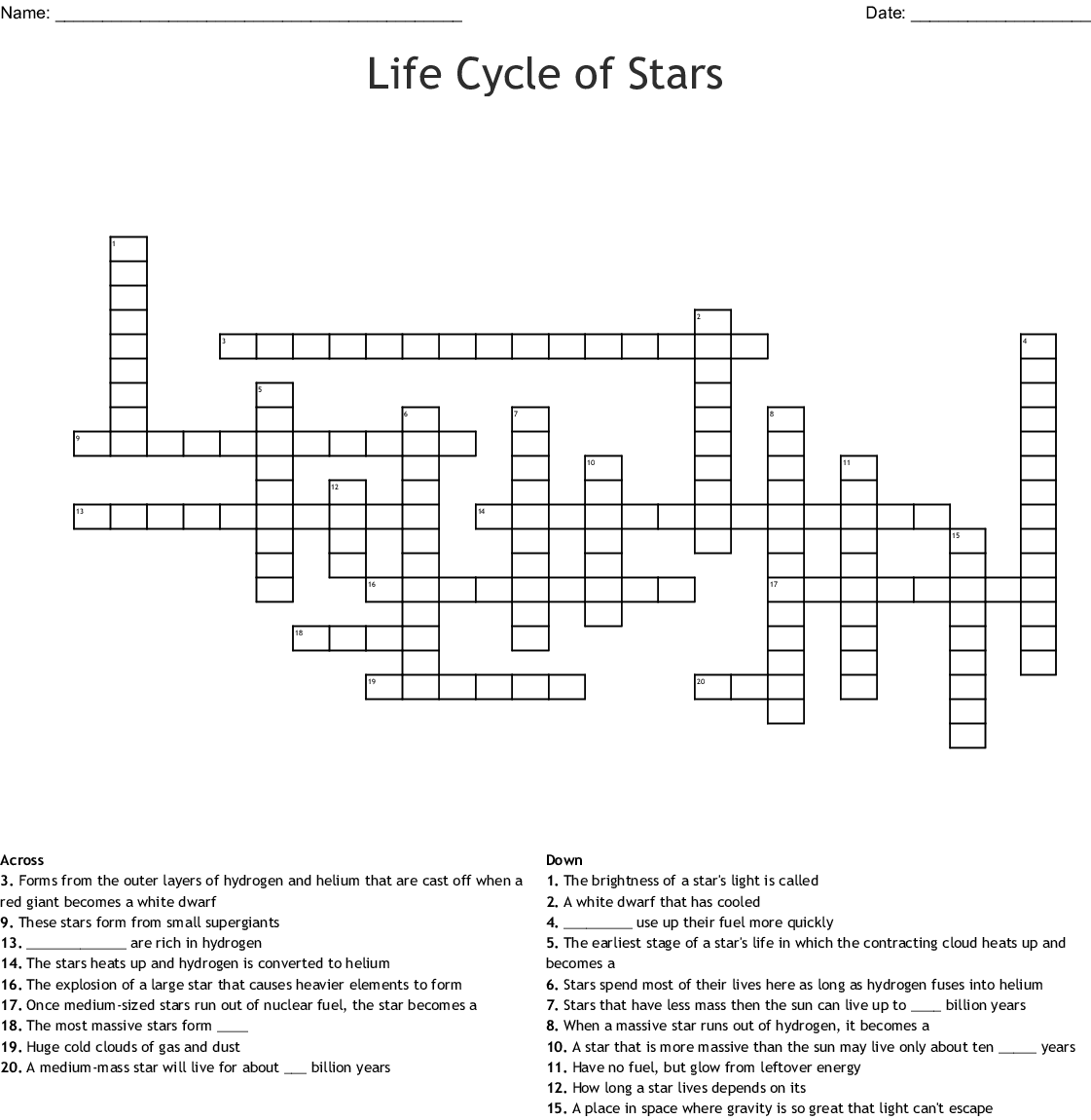 Evolution Of Stars Worksheet Answer Key