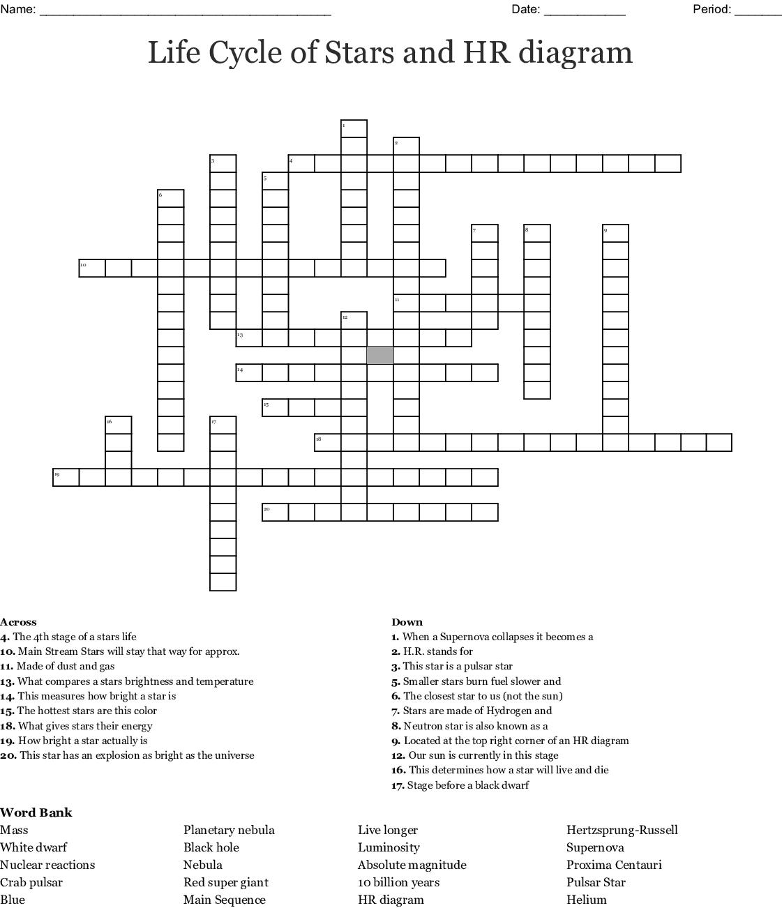 Life Cycle Of Stars Hr Diagram Crossword