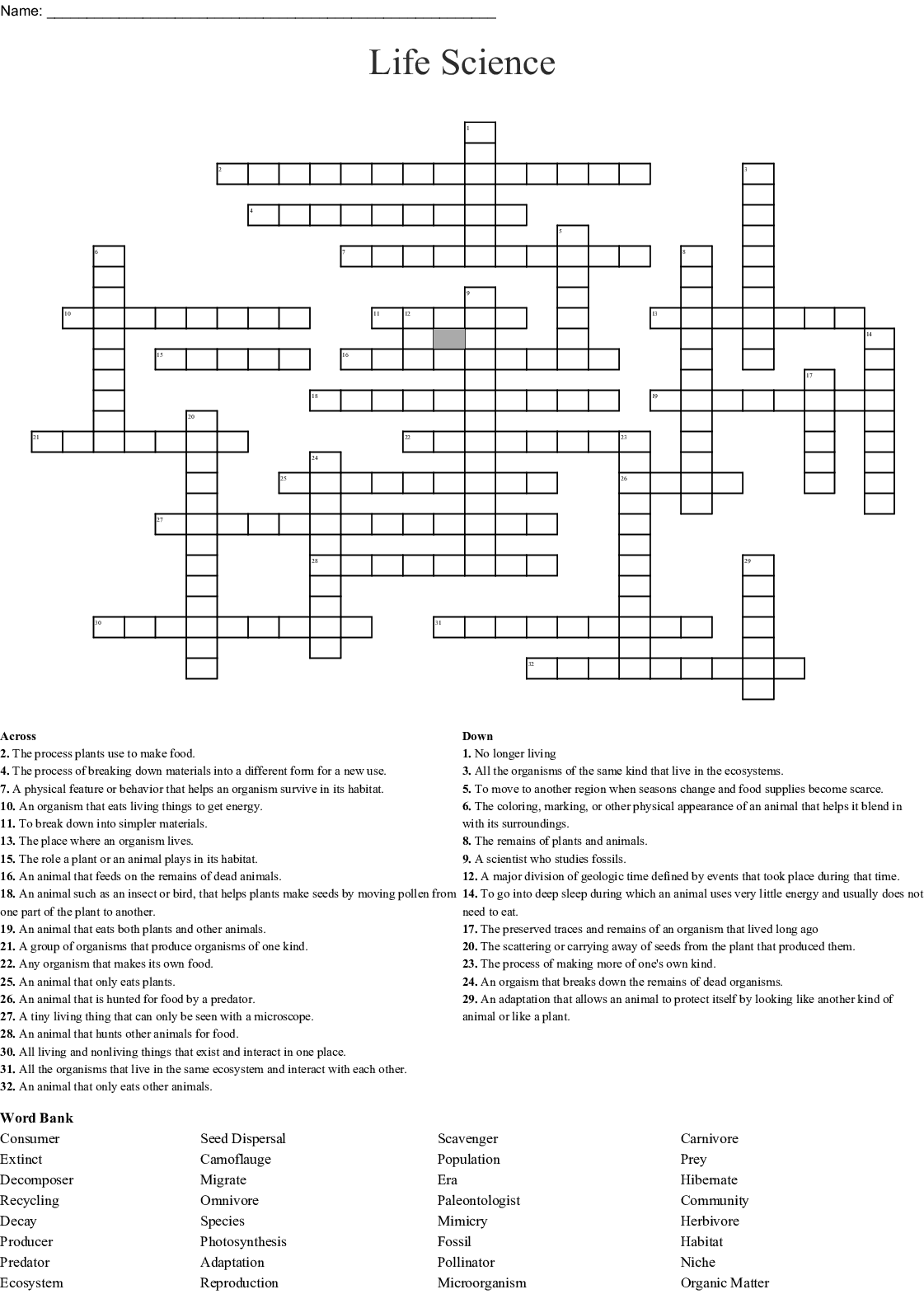 Habitat Amp Conservation Crossword