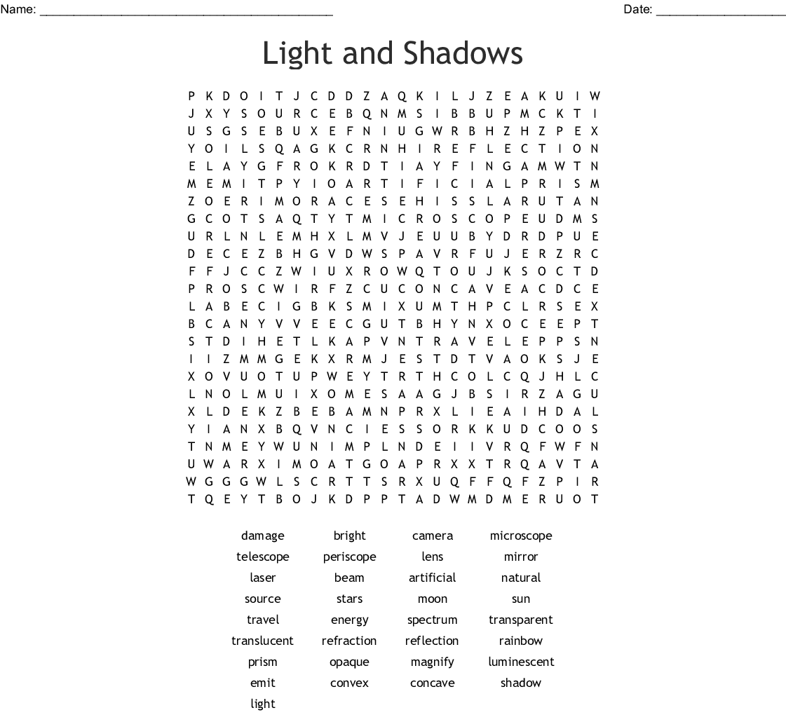 Light And Shadows Word Search