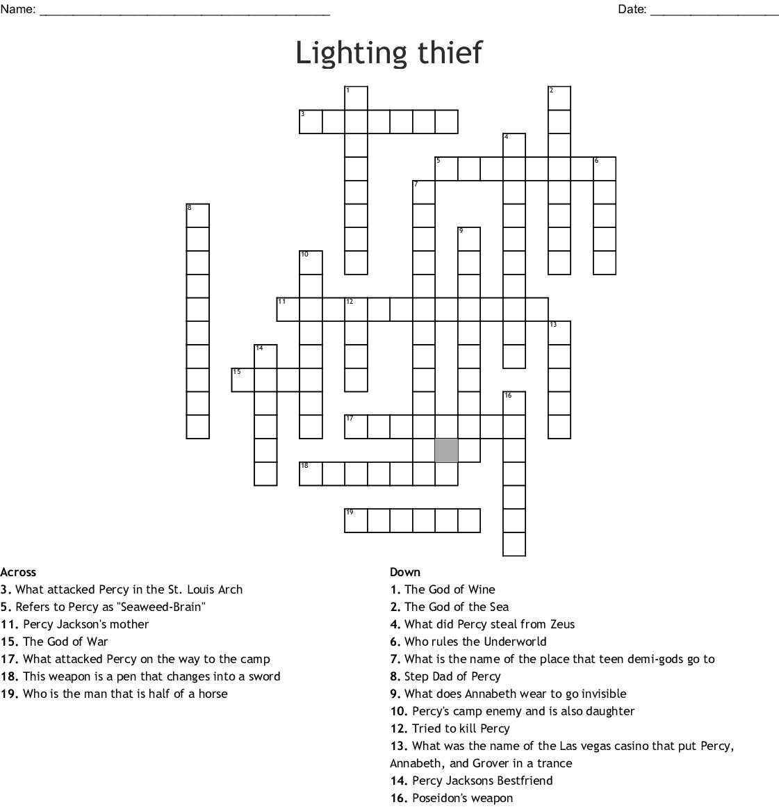 Percy Jackson The Lightning Thief Crossword