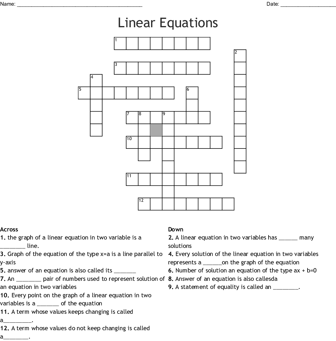 Two Step Equation Crossword Puzzle