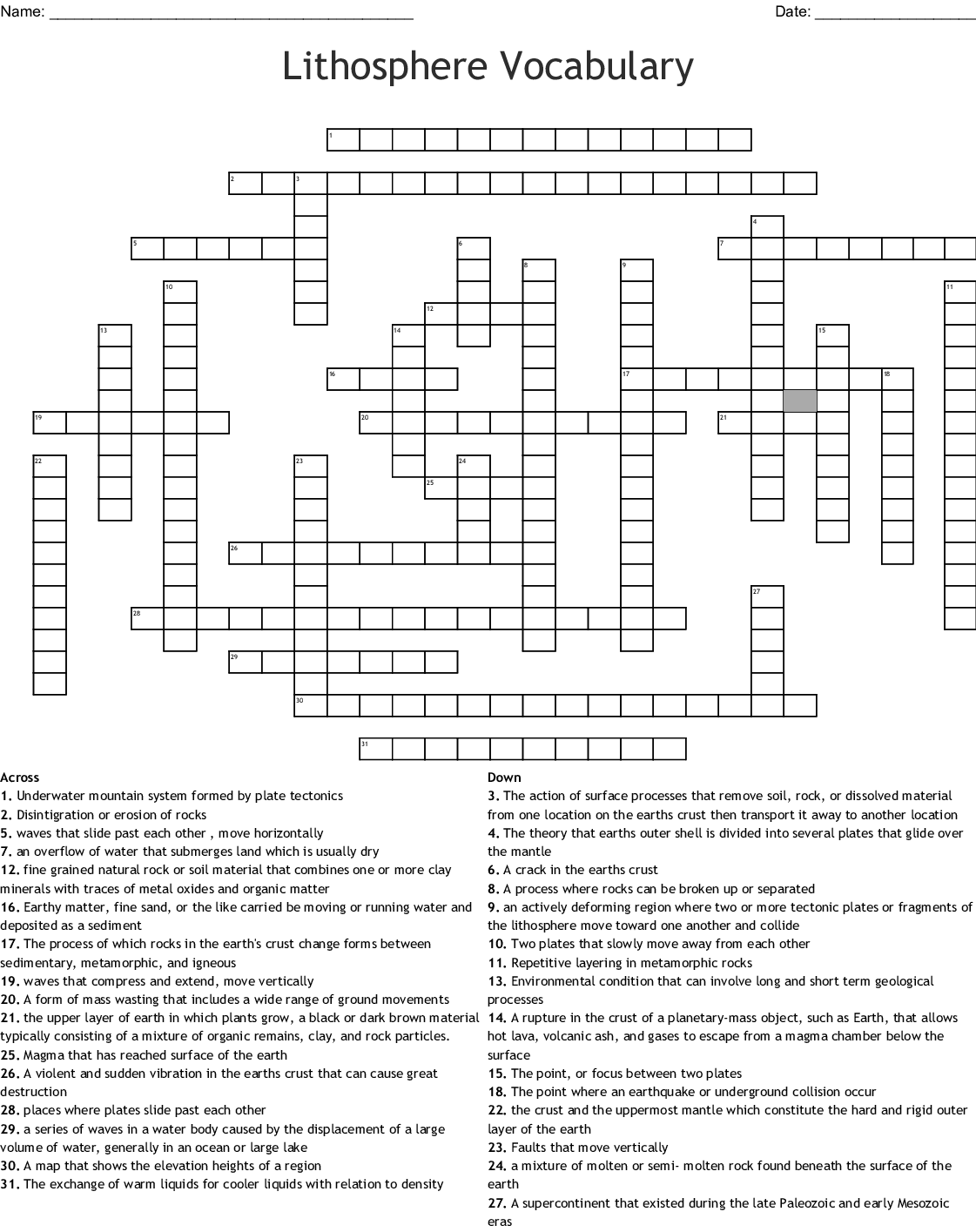 Lithosphere Vocabulary Crossword