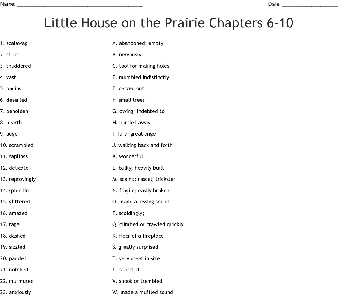 Little House On The Prairie Chapters 6 10 Worksheet