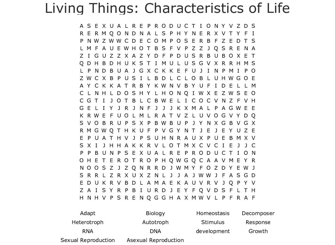Living Things Characteristics Of Life Word Search