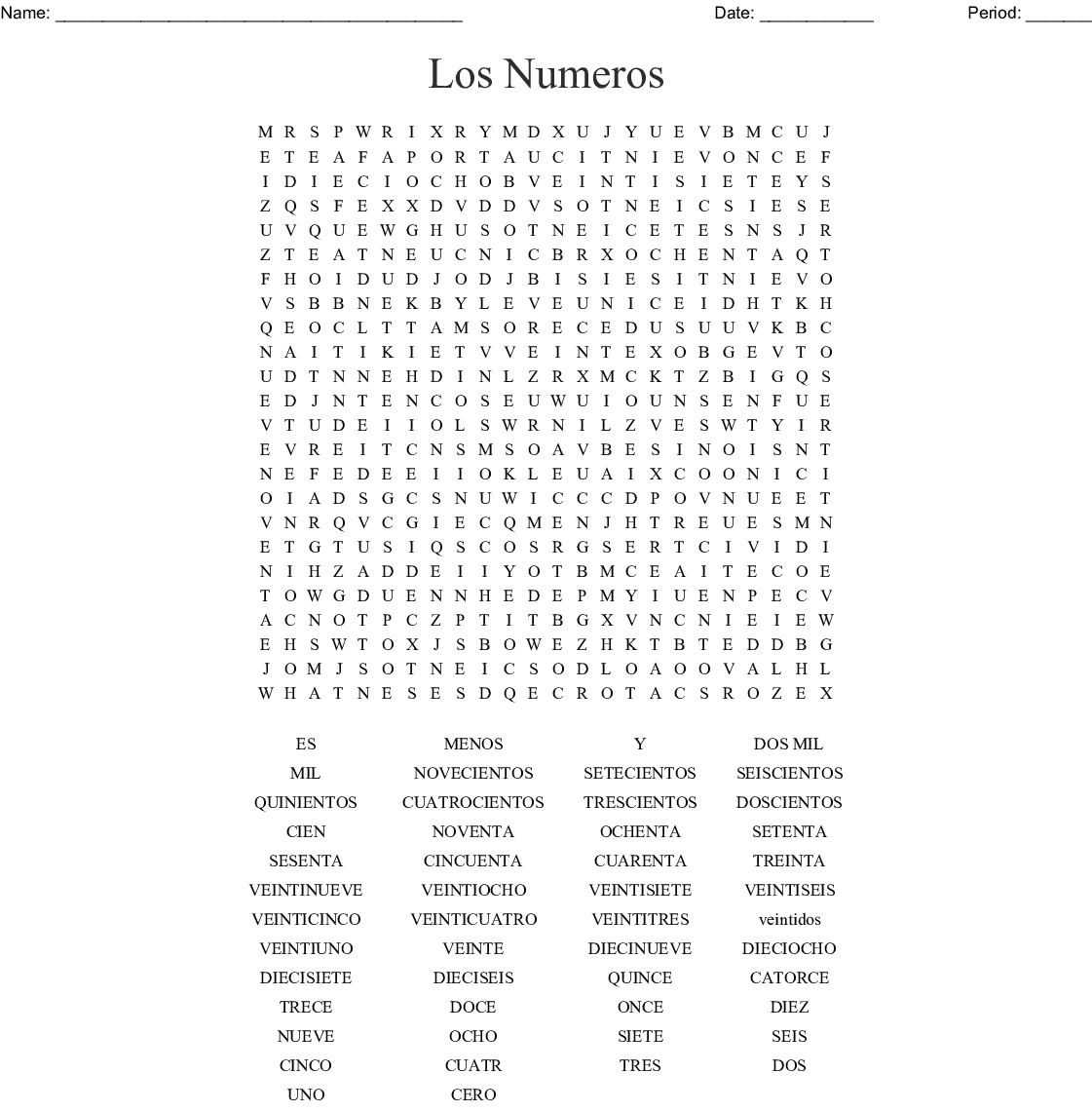 Spanish Numbers 1 20 Word Search