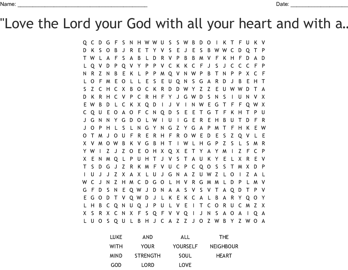 The Greatest Commandment Word Search