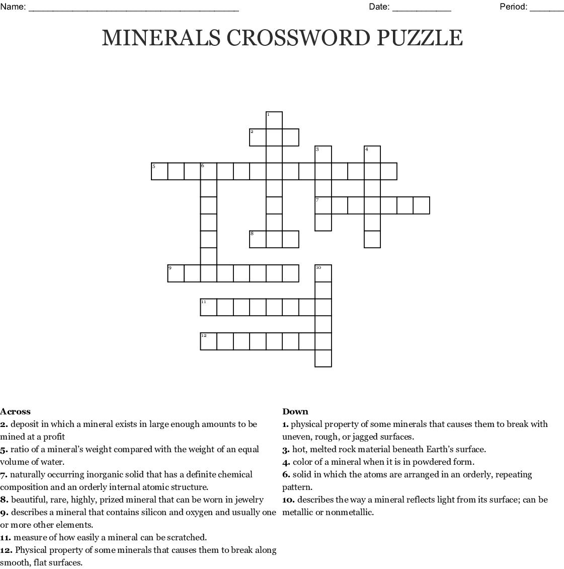 Vocabulary Crossword Puzzle Properties Of Minerals