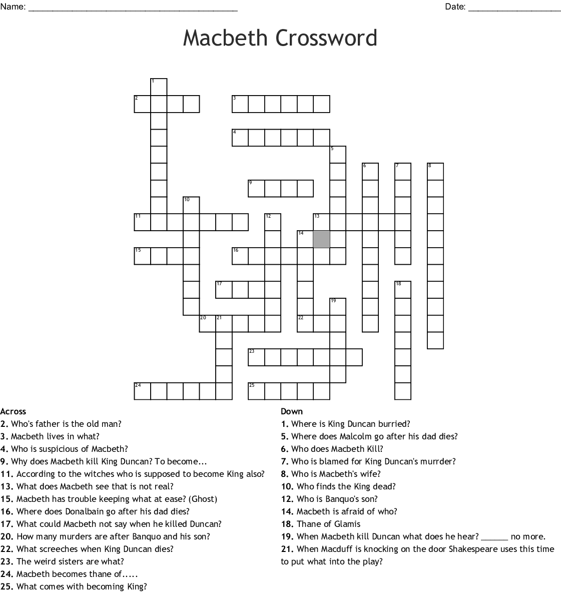 Macbeth Act 1 Word Search