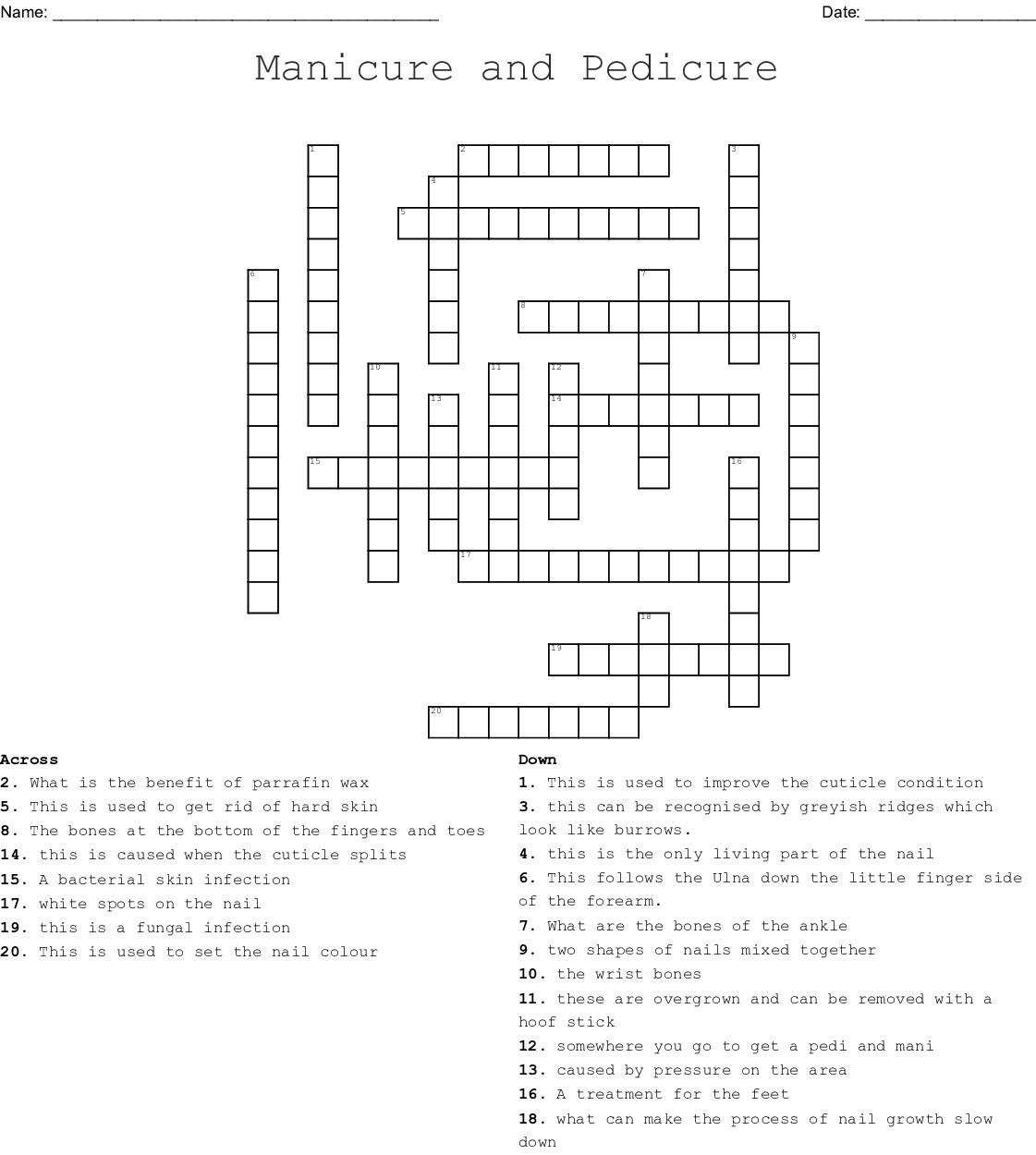 Manicure And Pedicure Crossword Puzzle