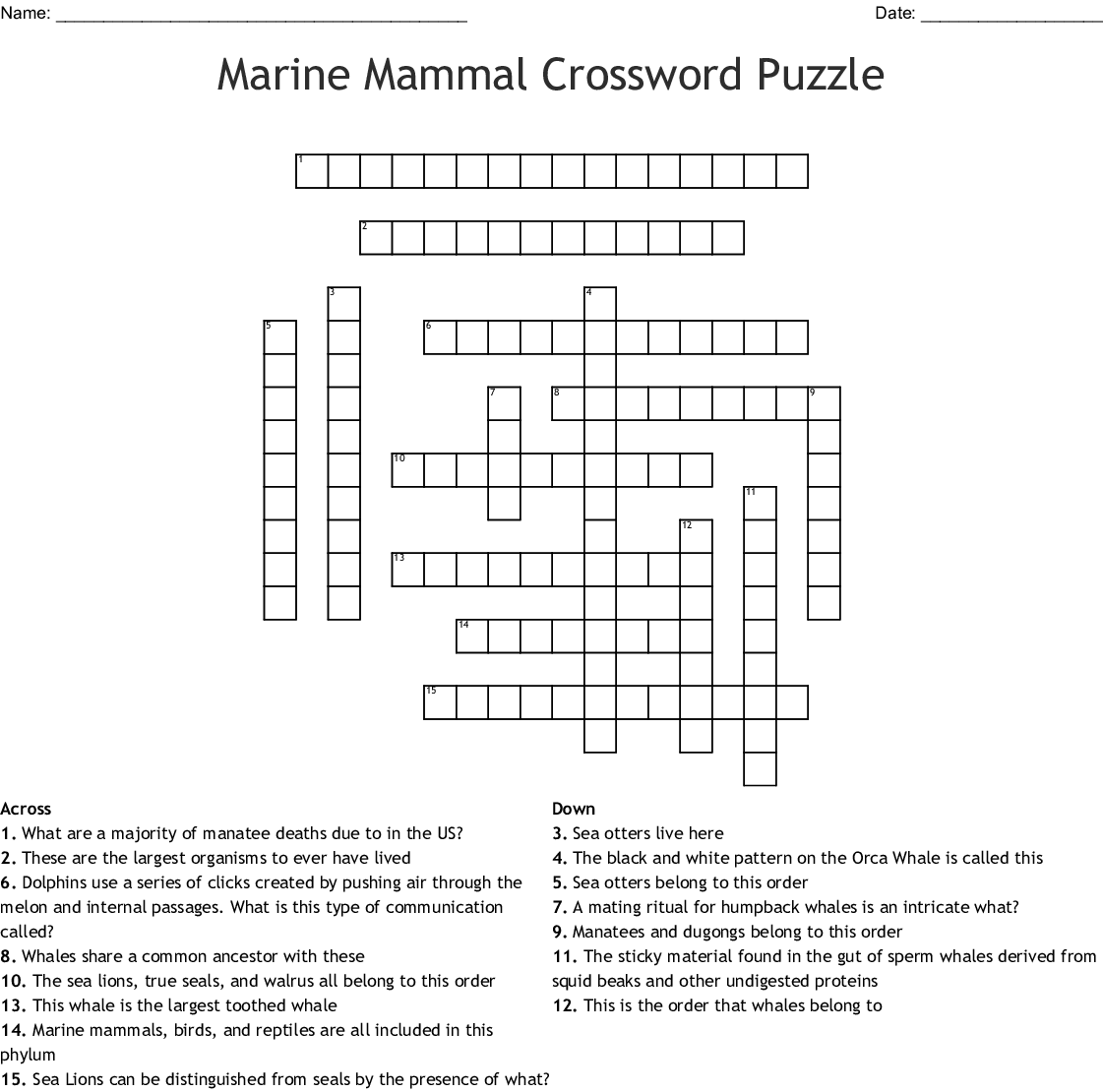 Aquatic Mammals Crossword