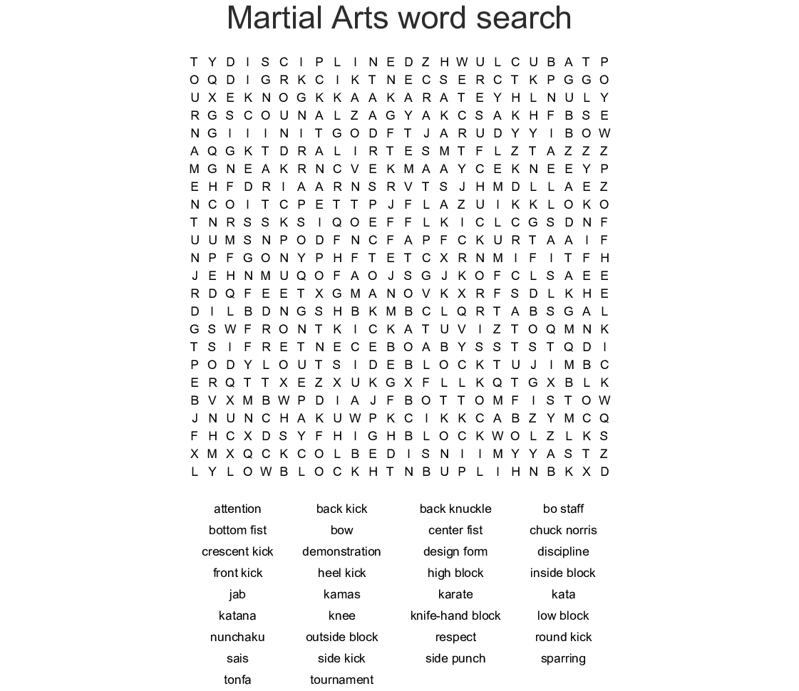 Martial Arts Word Search