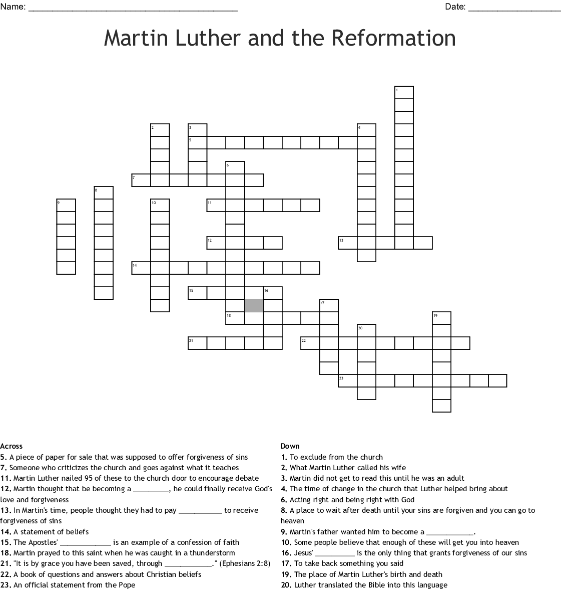 Luther Leads The Reformation Worksheet