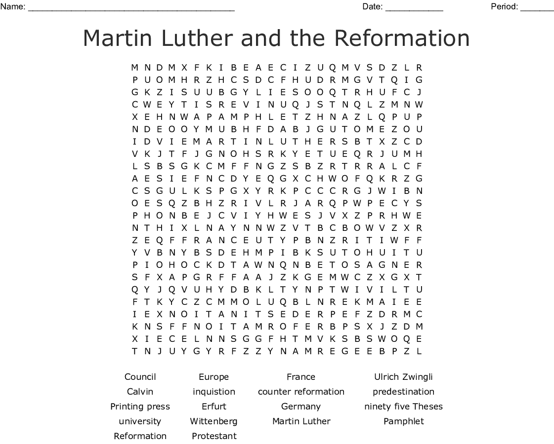 Protestant Reformation Word Search