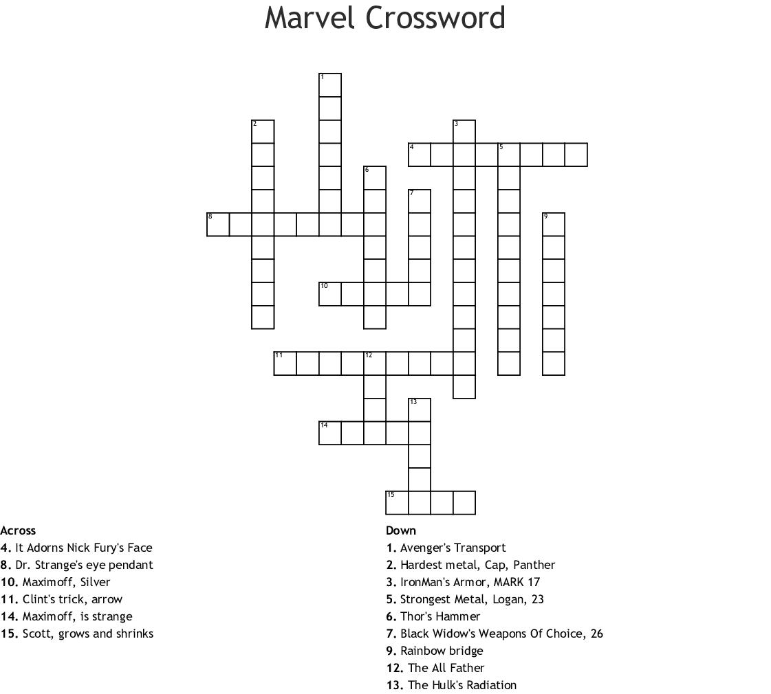 Marvel Crossword