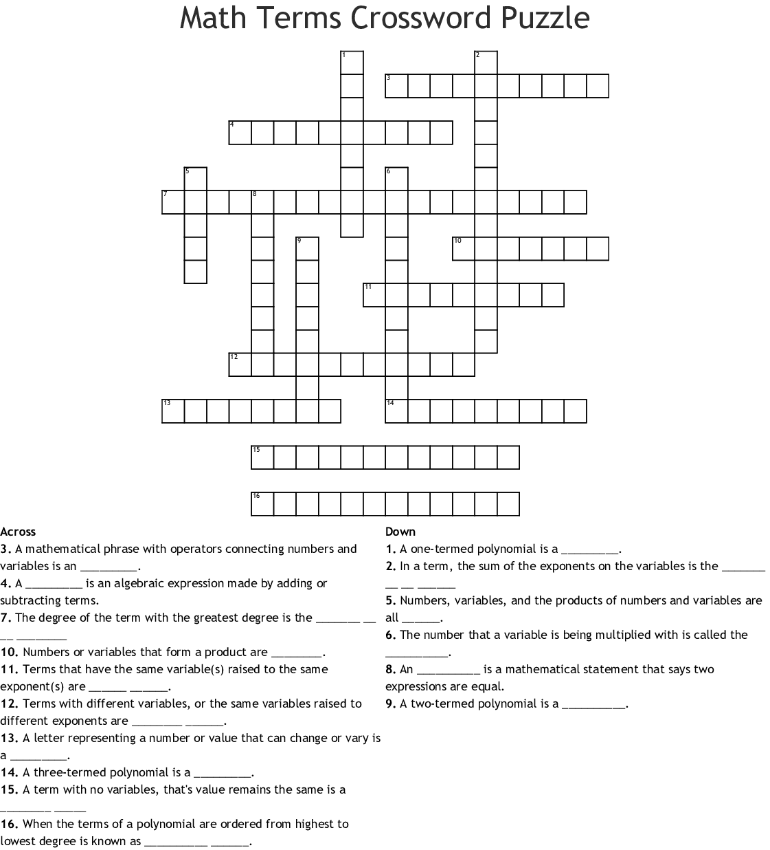Crossword Puzzle Of Maths Vocabulary