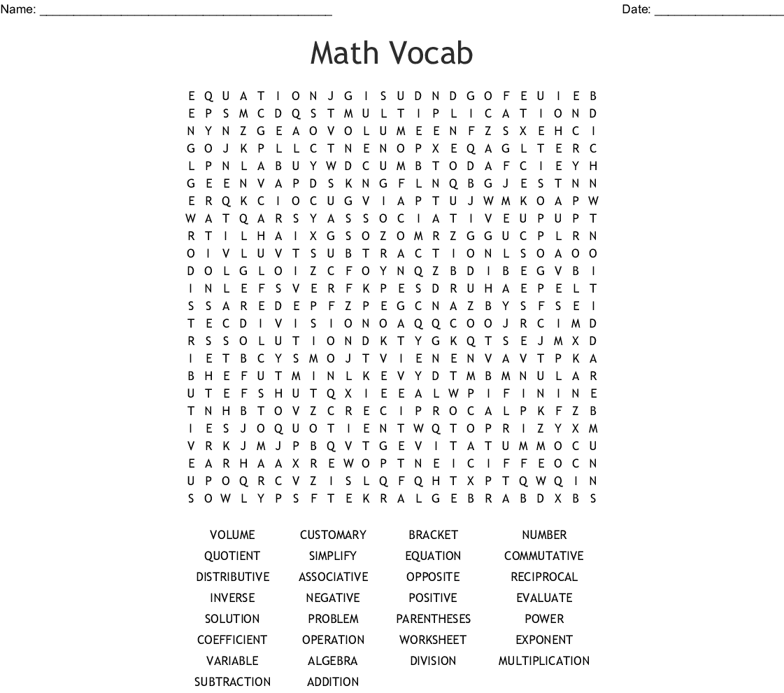 7th Grade Number Sense Vocabulary