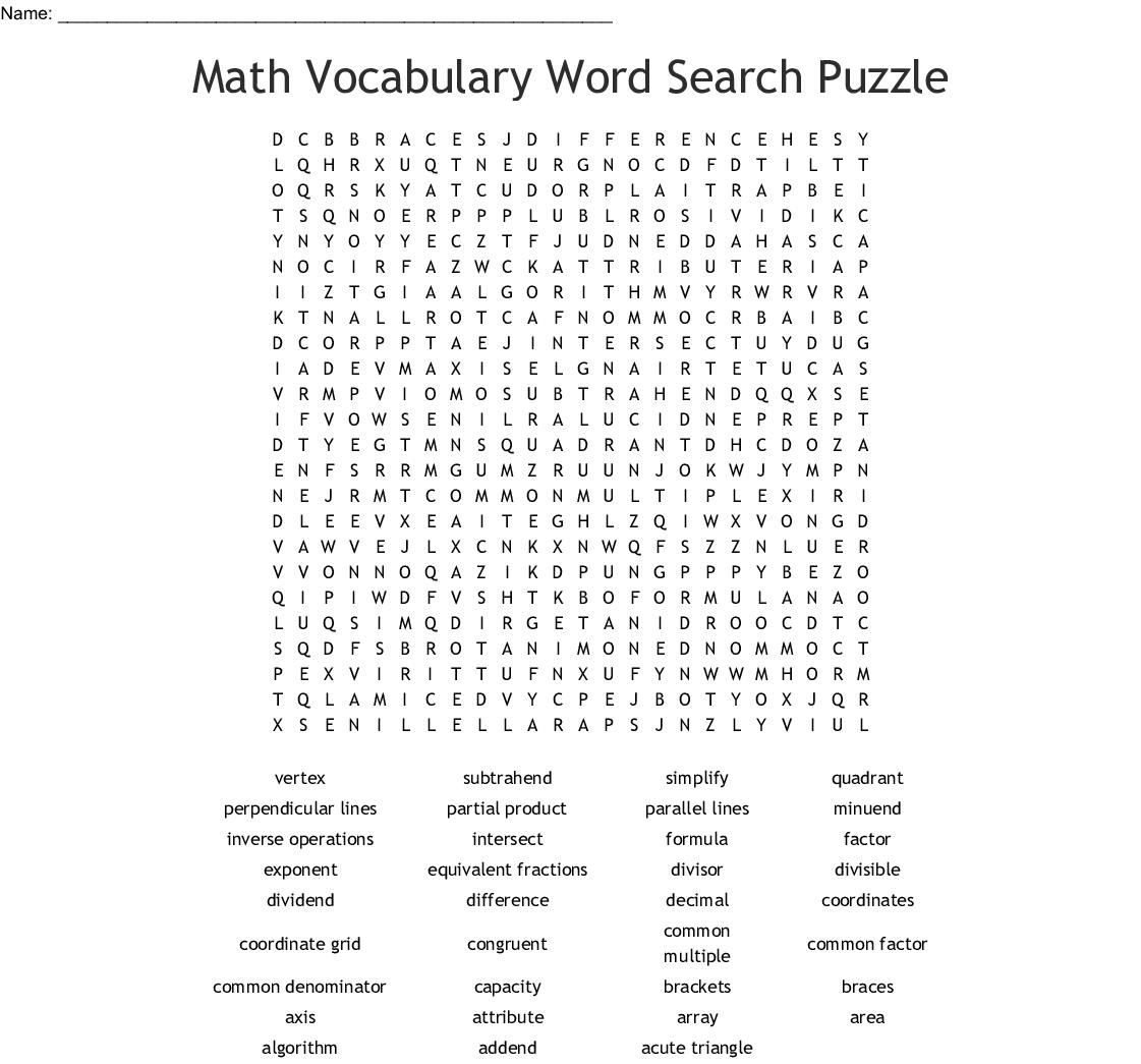 Math Vocabulary Word Search