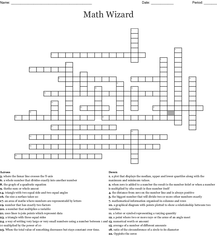 Math Wizard Crossword