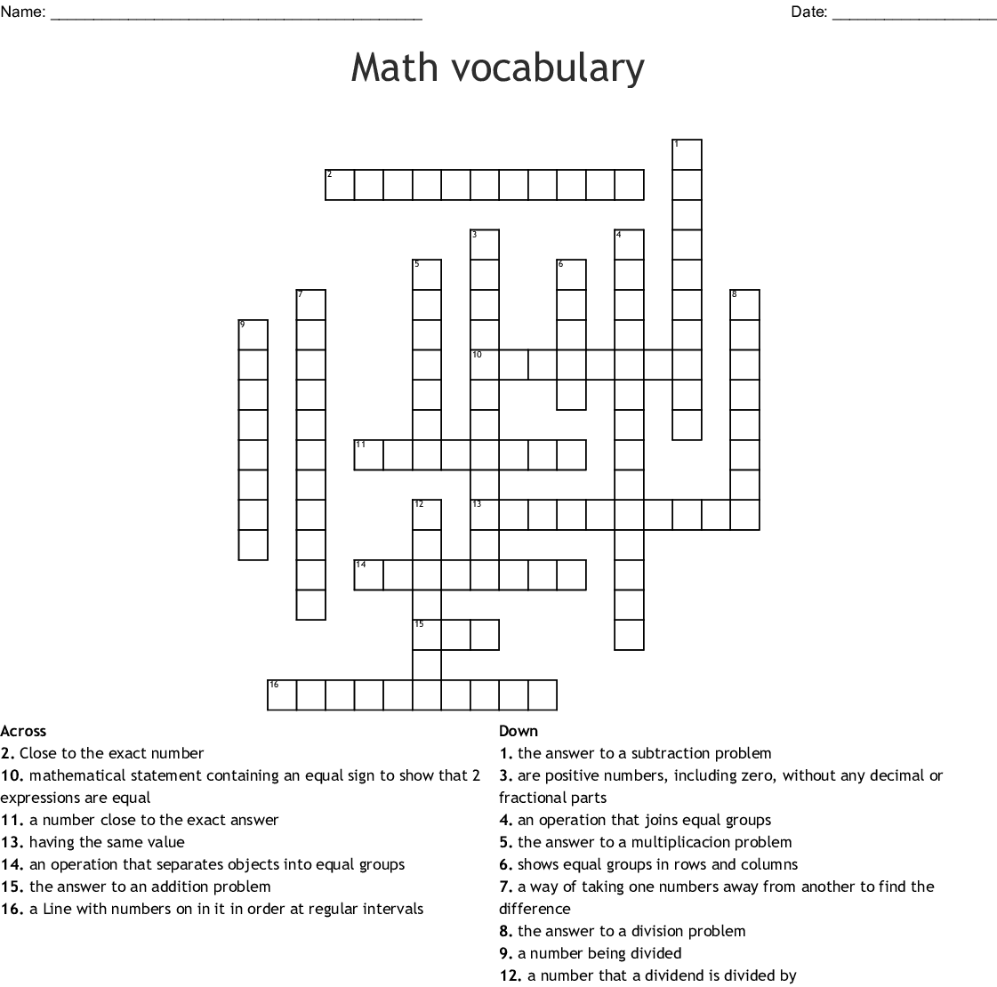 Similar To Math Vocabulary Crossword
