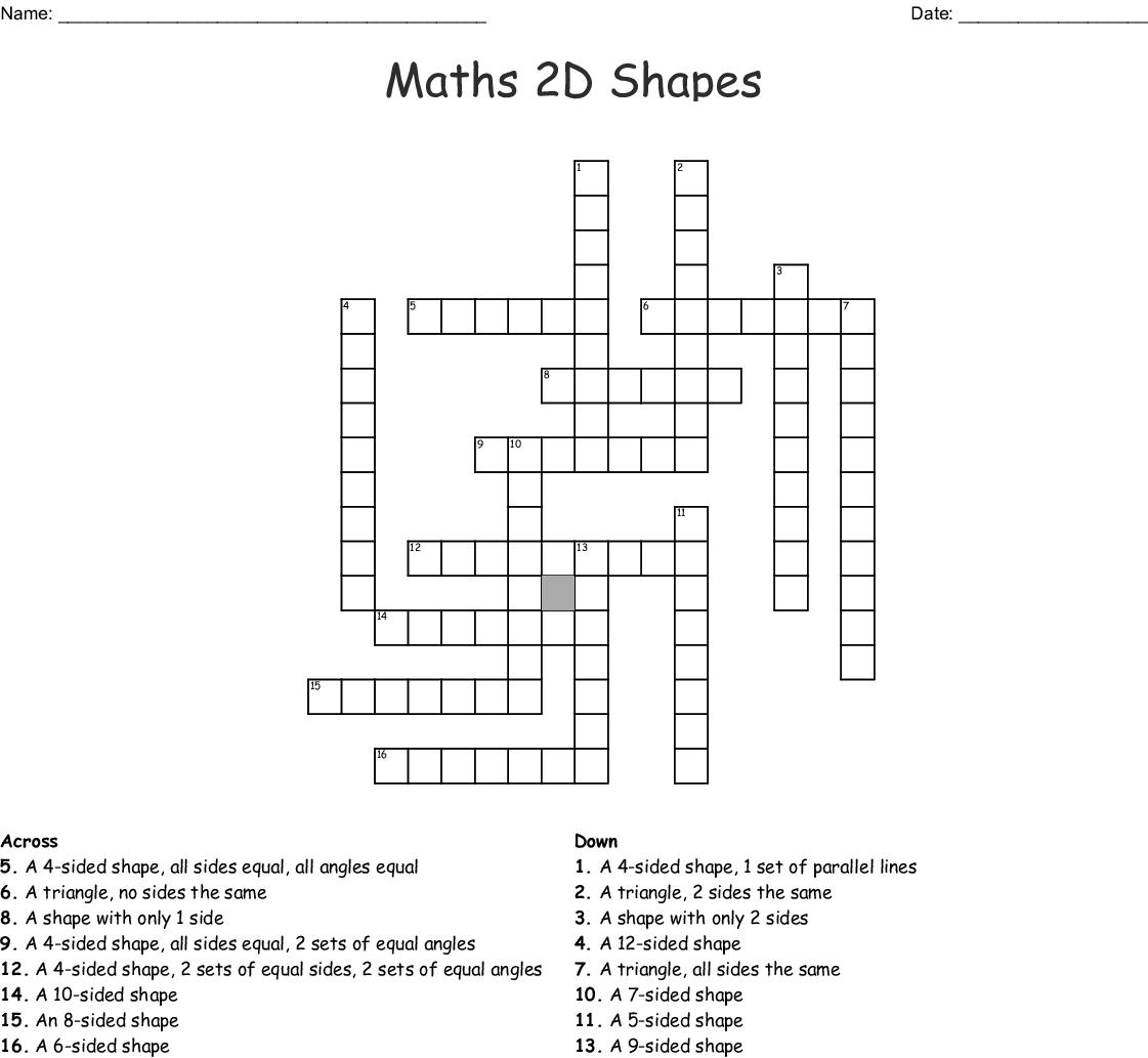 Maths 2d Shapes Crossword