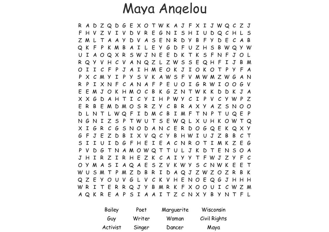 Maya Angelou Worksheet Answers