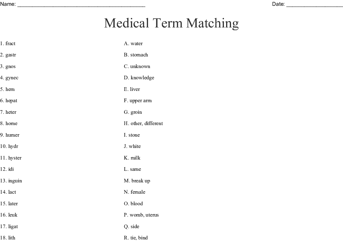 Medical Term Matching Worksheet