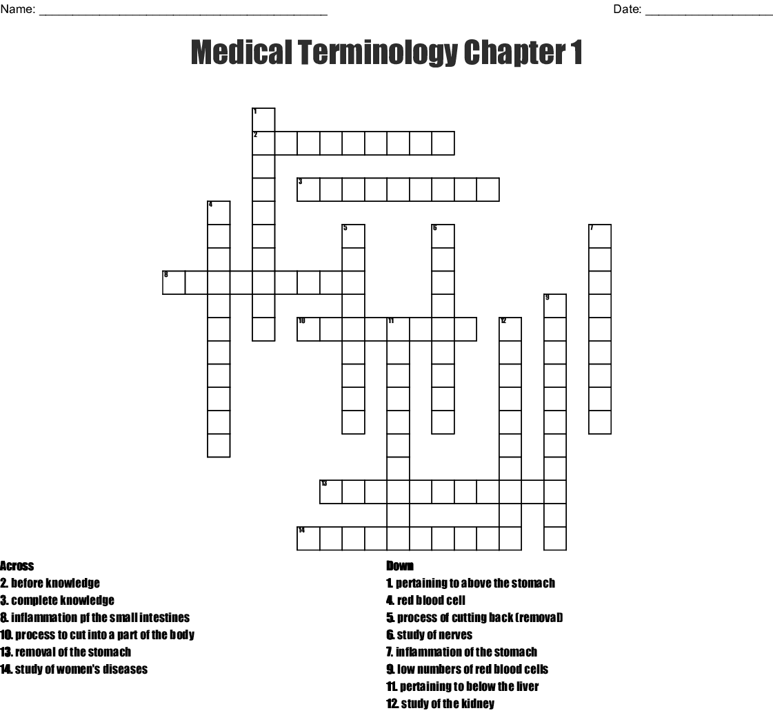 Psyt Medical Terminology Crossword