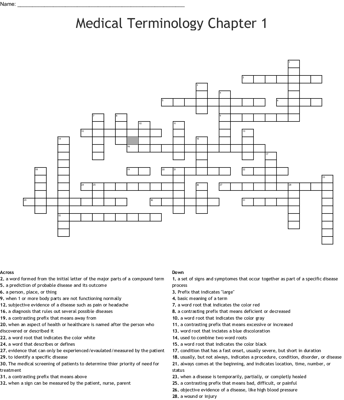 Medical Terminology 1 Combining Forms Crossword
