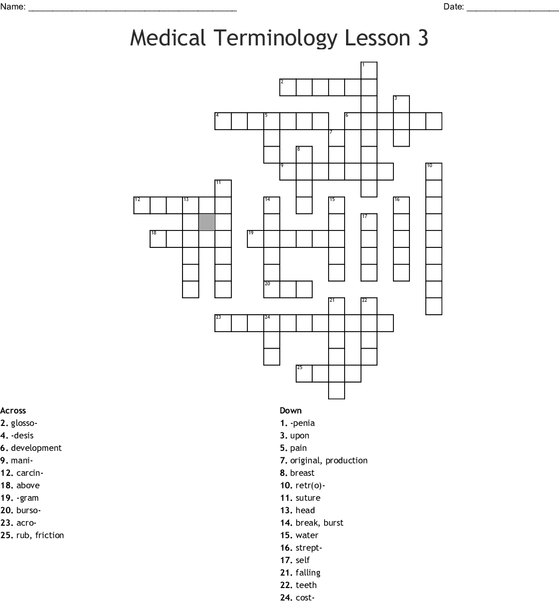 Medical Terminology Mid Term Review Worksheet