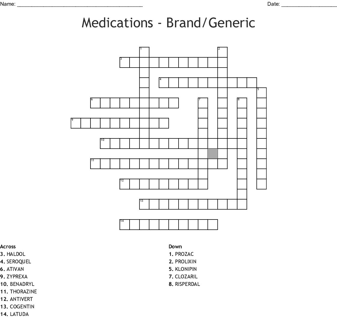 Psychiatric Medications Match Medication With Drug Class
