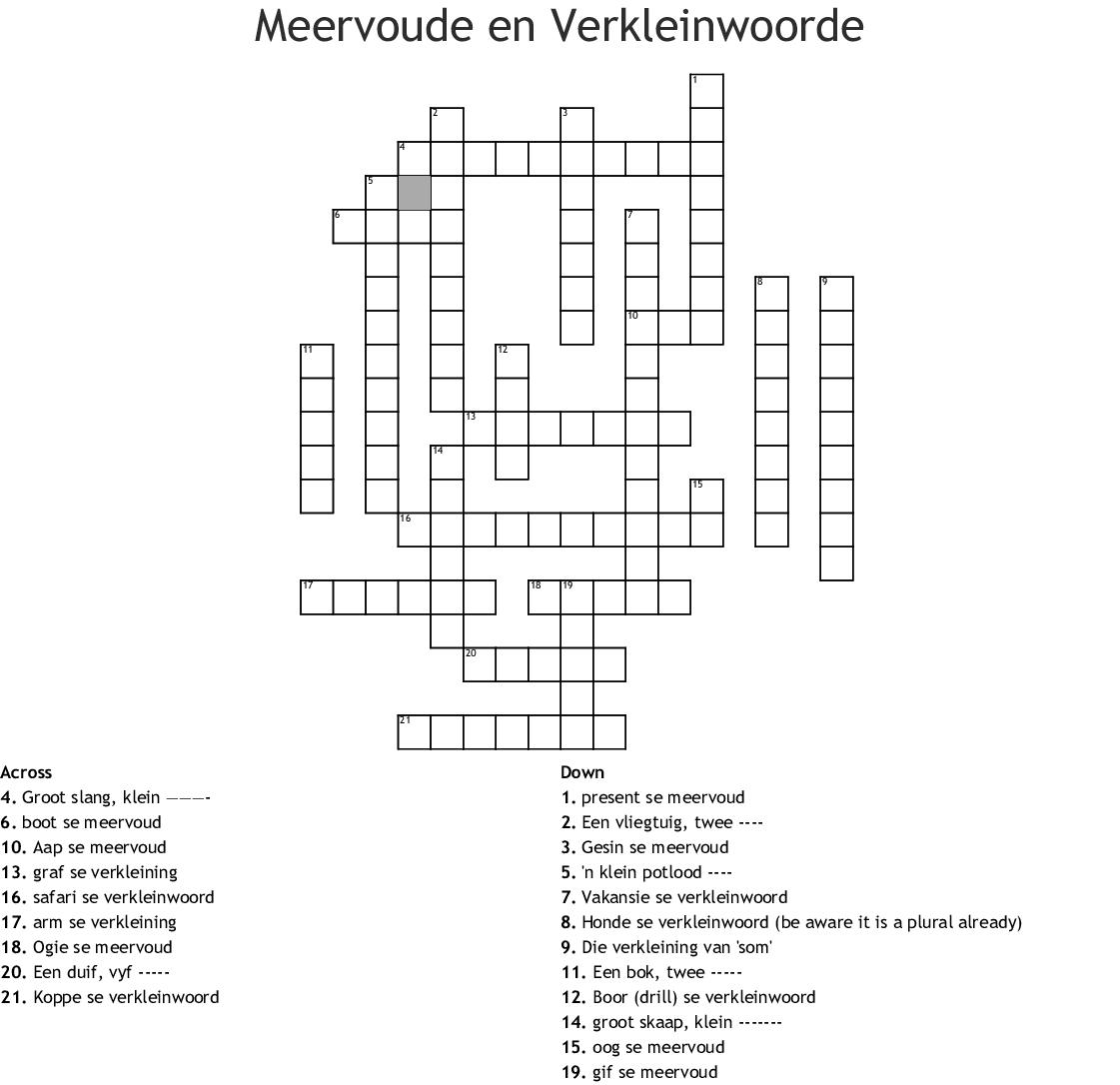 Meervoude En Verkleinwoorde Crossword