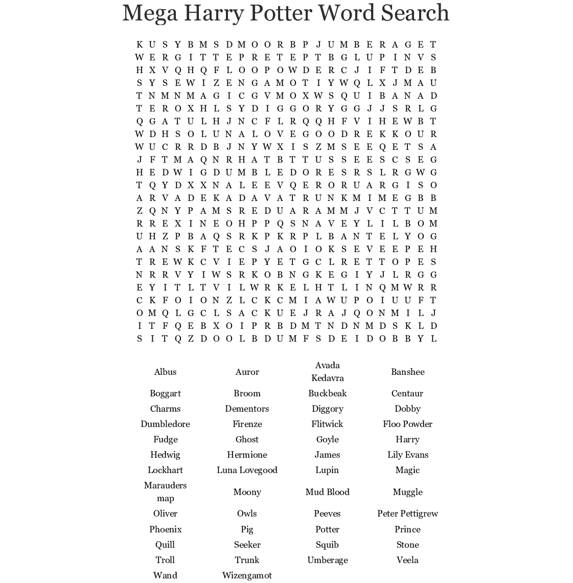 Mega Harry Potter Word Search