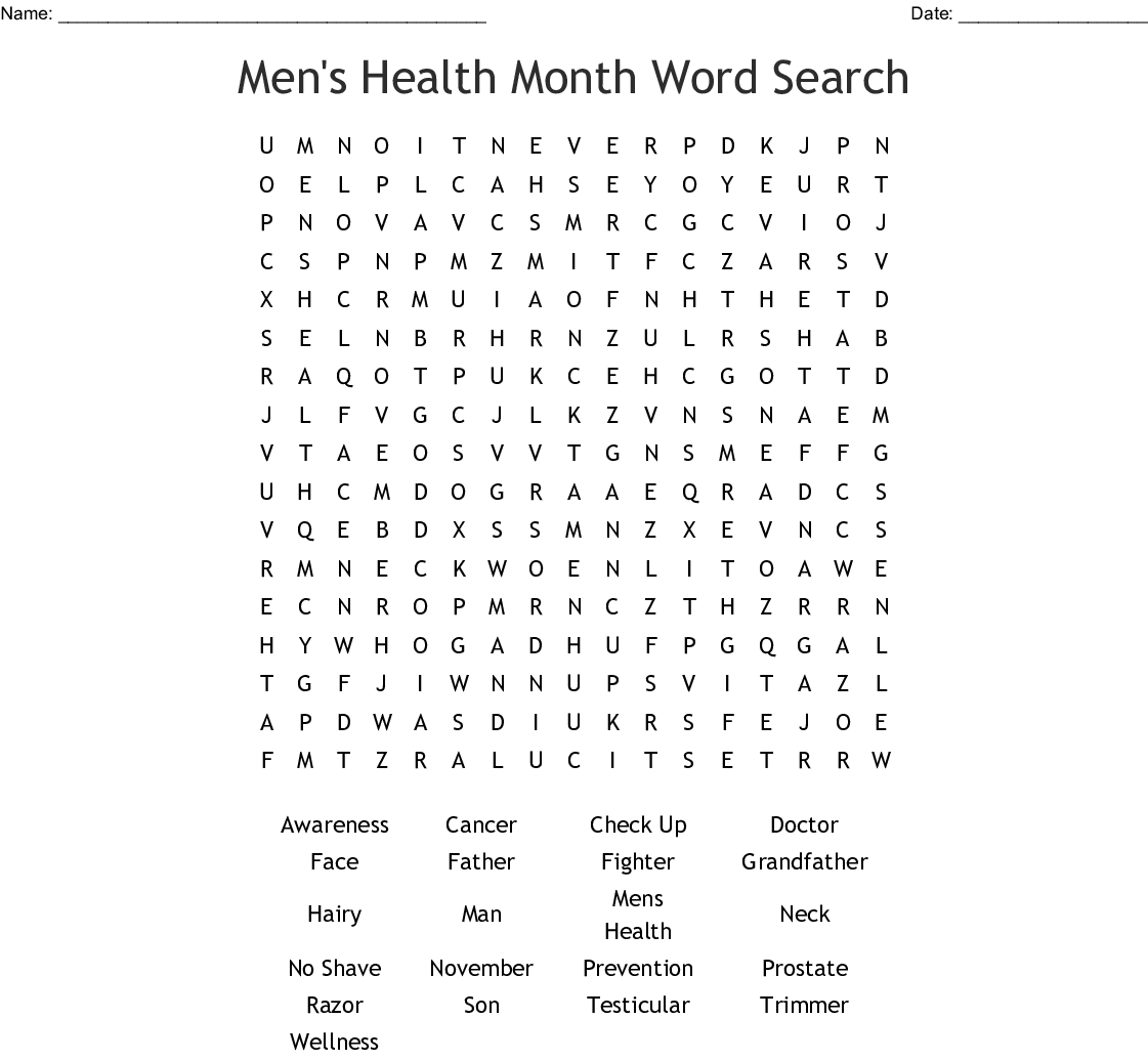 Men S Health Month Word Search