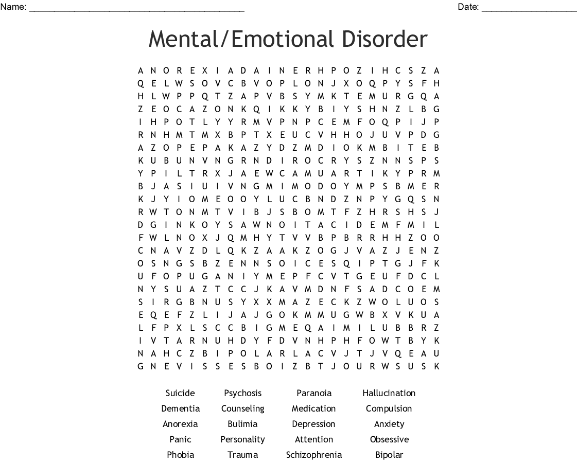 Mental Health Awareness Word Search