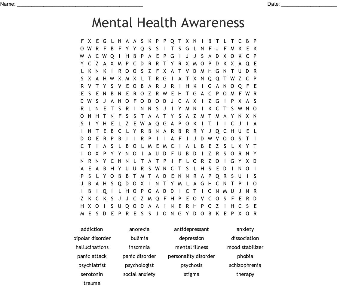 Mental Health Word Scramble